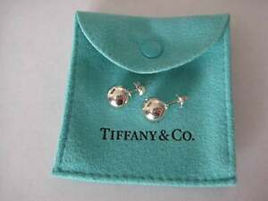 Tiffany & Co 8mm Sterling Silver Bead Ball Earrings and Blue Pouch