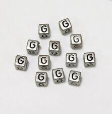 "6mm Silver Metallic Alphabet Beads Black Letter ""G"" 100pc"