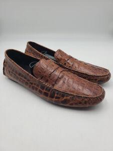 Donald J. Pliner Men Sz 15 Vinco2 Leather Alligator Embossed Loafers Brown Shoes