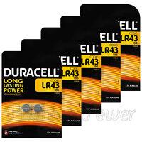 10 x Duracell Alkaline LR43 batteries 1.5V 186 V12GA AG12 1176A Coin Cell 2 Pack