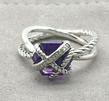DAVID YURMAN Sterling Silver Cable Wrap Ring with Amethyst and Diamonds 10mm