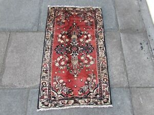 Vintage Traditional Hand Made Oriental Faded Red Pink Wool Small Rug 106x63cm
