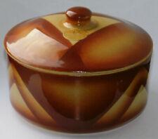 Keramik Deckeldose Bunzlau Julius Paul Art Deco Spritzdekor geometrisch 148