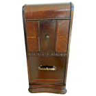 Art Deco Nightstand side table Waterfall top Brass drawer Pull Inlays