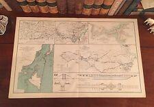 Original Antique Civil War Map REBEL BLOCKADE RUNNERS Wilmington North Carolina