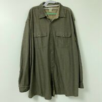 LL Bean Olive Green Cotton Knit Long Sleeve Button Front Shirt Men's Size XXL