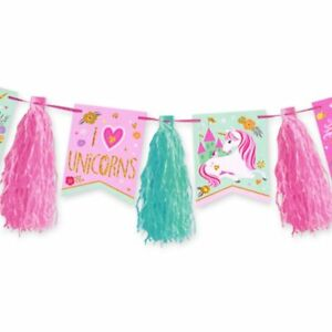 Magical Unicorn Glitter Tassel Garland 10ft Long Birthday Party Supplies
