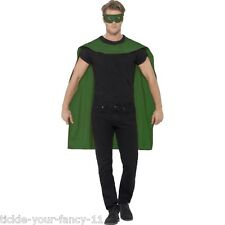 Men's Green Cape With Eye Mask Fancy Dress Super Hero Phantom Stag Night Fun