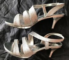 NEW IN BOX Monet Silver Glitter Strappy Platform Stiletto Shoes Size 7.5M