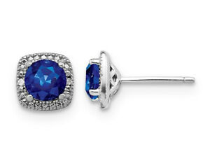 2.20 Carat (ctw) Lab Created Blue Sapphire Earrings Sterling Silver