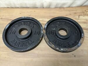 "2x Used York Olympic 2"" Barbell Plate Pair 10lb Weight (20lbs Total)"