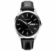 Sekonda Black Dial Mens Leather Strap Watch With Day And Date Display NEW_UK