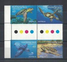 2002 Cocos Keeling Islands Turtles SG 393/6 muh gutter block four set