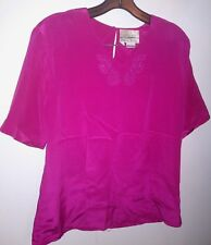 Liquid Silk SZ 6 SS WINE Embroidered BLOUSE Top Career Dressy Casual Shirt NwoT