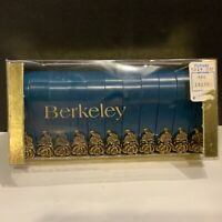 Vintage 1970-80's Berkeley Blue With Gold Roses Plastic Shower Curtain Rings NOS
