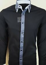 MENS STRIPE DOUBLE COLLAR LONG SLEEVE SHIRT FORMAL DRESS WEDDING CASUAL £16.99
