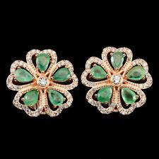 925 Sterling Silber Ohrringe 22 x 22 mm., Roségold beschichtet, Smaragd & CZ