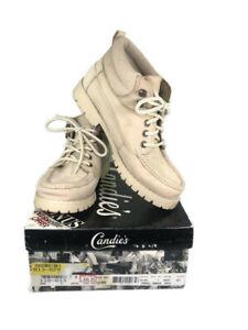 Women's Vintage 90s Candies Beige Leather Short Work Boot Size 7