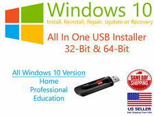Microsoft Windows 10 Pro 64bit 32bit USB Bootable Flash Drive Install or Repair