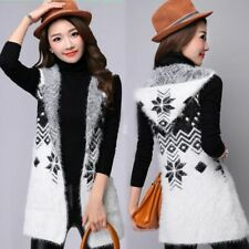 Ladies Street Wear Style Winter Clothing Vest Hooded Collar Abstract Pattern New