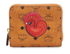 Authentic MCM Visetos Cognac Rooster New Year Series Mini Wallet Rare!