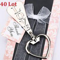 40 Lot LOVE Bottle Opener Heart Shape Bottle Opener Wedding Favor with Gift Box