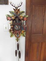vtg West Germany full size cuckoo clock deer antler 3 weight 4 dancer bird PARTS