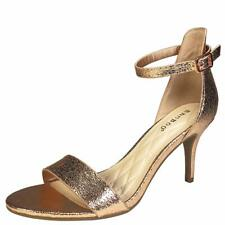 BAMBOO Women's Mid Heel Single Band Sandal with Ankle Strap, Rose Gold PU, 10.0