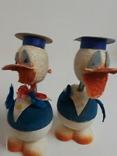 2 Vintage Paper Mache Donald Duck Egg Candy Holder Western Germany