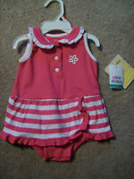 NWT BABY GIRL'S  0-3 M PINK/WHITE 1-Pc OUTFIT SPRING/SUMMER OKIE-DOKIE
