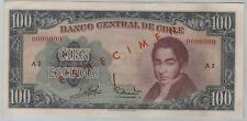 CHILE SPECIMEN 100 ESCUDOS 1962 - 1975 SERIE A 2 - PICK 141s - AUNC
