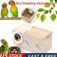 Wooden Bird Breeding Nest Box Parakeet Budgie Cockatiel Nesting Cage US STOCK