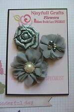 HANDMADE 3 Flower GREY & SAGE Tone Mix Organza & Satin 45-56mm NjoyfullCrafts