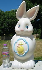 Vtg Plastic Yard Decor Easter Bunny Yellow Duck Chick Belly Blow Mold Light up