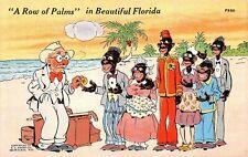 Vintage Postcard Black African American Row of Palms Florida Tips Resort Comic