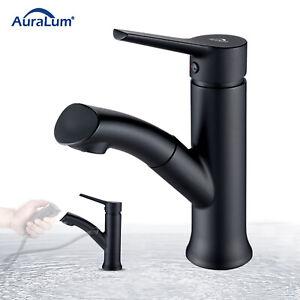 Waschtischarmatur mit Ausziehbar Brause Wasserhahn Waschbecken Armatur Schwarz