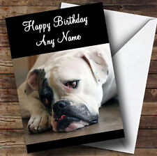 Triste American Bulldog Perro Personalizado Cumpleaños tarjeta de saludos