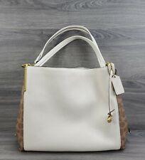 Coach 76078 Dalton 31 Signature Canvas Leather Shoulder Bag Purse Tan Chalk