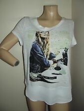 """EXPRESS Small WHITE """"YOUNG AT HEART"""" BURNOUT GRAPHIC TEE rhinestone t-shirt"""