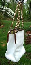 Vtg1960's Bonnie Cashin Coach White Leather Double Kiss Lock Chains Swing Bag