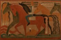 Cubist, 1930s. Male and horses. Watercolor and pencil on canvas