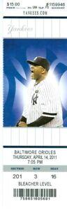 2011 Yankees vs Orioles Ticket: Mariano Rivera win/Jorge Posada HR