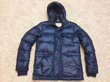 Men's Burberry Brit Blue Down Fill Puffer Quilted Hooded Jacket Coat Small