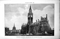 Antique Print Manchester Architecture Town Hall A Waterhouse Architect 1896