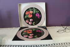 """SIX 10"""" ROUND PIMPERNEL ACRYLIC PLACE MATS SWEET PEA FLOWERS PRE-OWNED"""