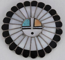 Vintage large Zuni Sun face Kachina sterling Turquoise onyx MoP inlay pin brooch