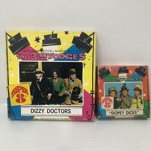 2 Lot Super 8 8mm 3 Three Stooges DOPEY DICKS + Dizzy Doctors Columbia Pictures