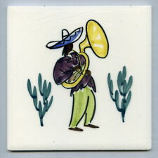 "Hand painted 6""sq tile by Alistair Macduff for Dorincourt Potters, 1956"