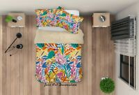 3D Cartoon Colorful Leaves Quilt Cover Sets Pillowcases Duvet Comforter 163