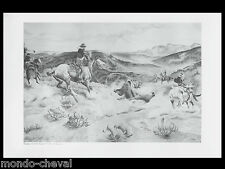 GRANDE PLANCHE imprimée, chasse à l'ours,western, chevaux,d'ap. C. Russel,fusain
